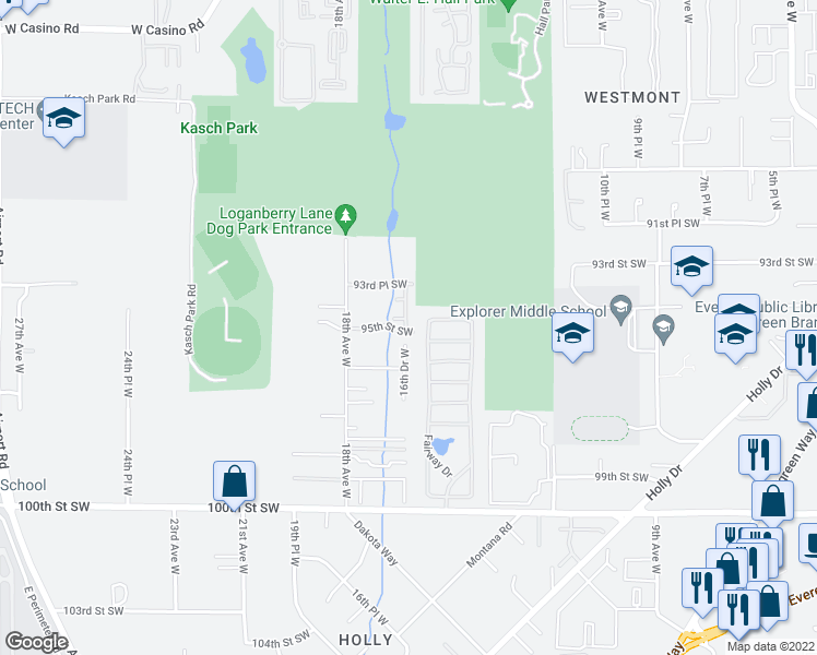 map of restaurants, bars, coffee shops, grocery stores, and more near 6020 Kenwood Drive in Everett