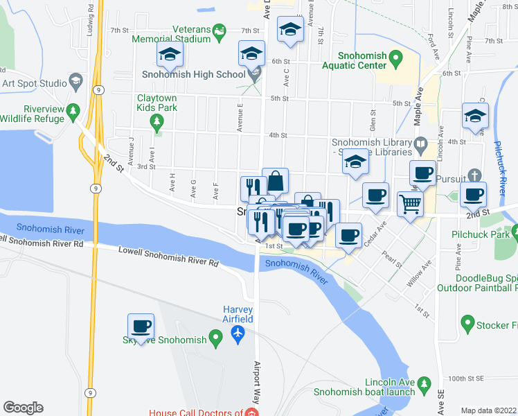 map of restaurants, bars, coffee shops, grocery stores, and more near 1298 2nd Street in Snohomish