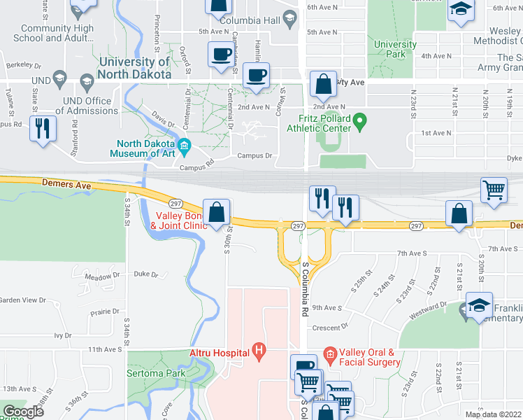map of restaurants, bars, coffee shops, grocery stores, and more near 2900 Demers Avenue in Grand Forks