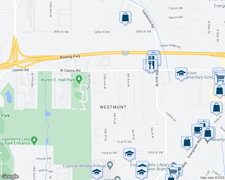 map of restaurants, bars, coffee shops, grocery stores, and more near 974 10th Avenue West in Everett