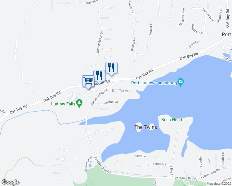 map of restaurants, bars, coffee shops, grocery stores, and more near 82 Ebb Tide Court in Port Ludlow