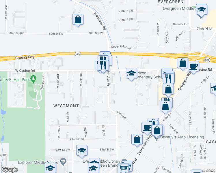 map of restaurants, bars, coffee shops, grocery stores, and more near 8557-8653 5th Avenue West in Everett