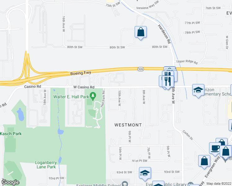 map of restaurants, bars, coffee shops, grocery stores, and more near 1020 West Casino Road in Everett