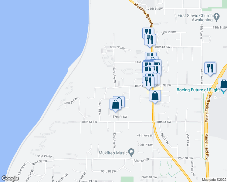 map of restaurants, bars, coffee shops, grocery stores, and more near 8311 53rd Avenue West in Mukilteo
