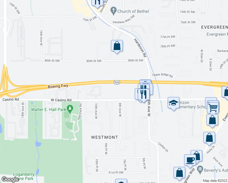 map of restaurants, bars, coffee shops, grocery stores, and more near 711 West Casino Road in Everett