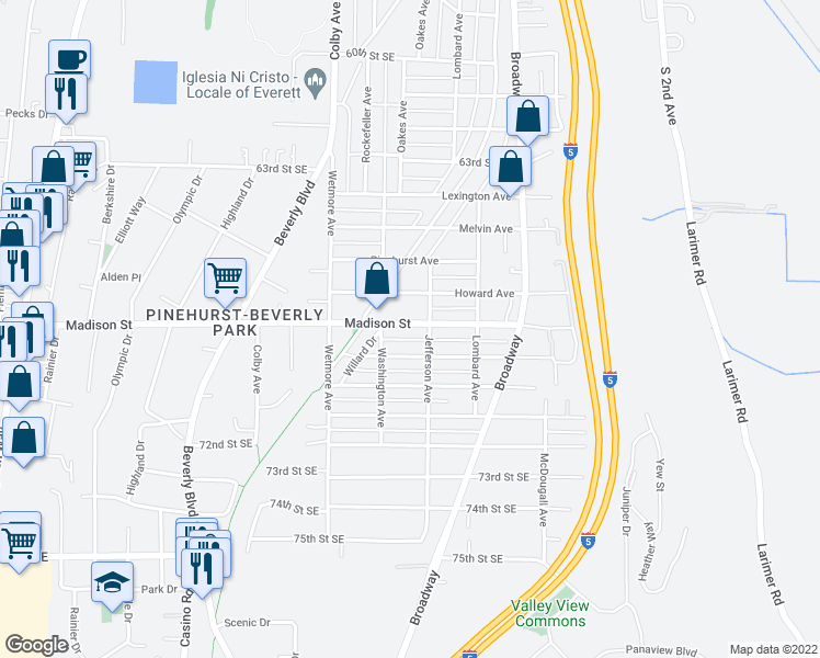 map of restaurants, bars, coffee shops, grocery stores, and more near 2112 Madison Street in Everett