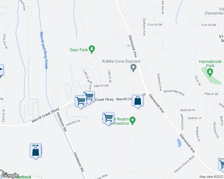 map of restaurants, bars, coffee shops, grocery stores, and more near 5811 10th Drive West in Everett