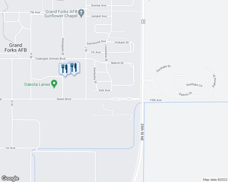 map of restaurants, bars, coffee shops, grocery stores, and more near 514 Louisiana Street in Grand Forks Air Force Base