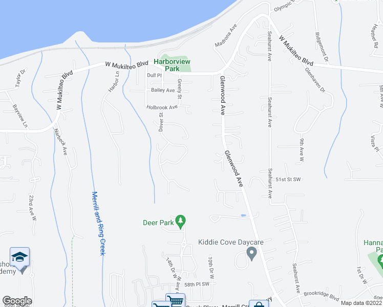 map of restaurants, bars, coffee shops, grocery stores, and more near 1623 Edgemoor Lane in Everett