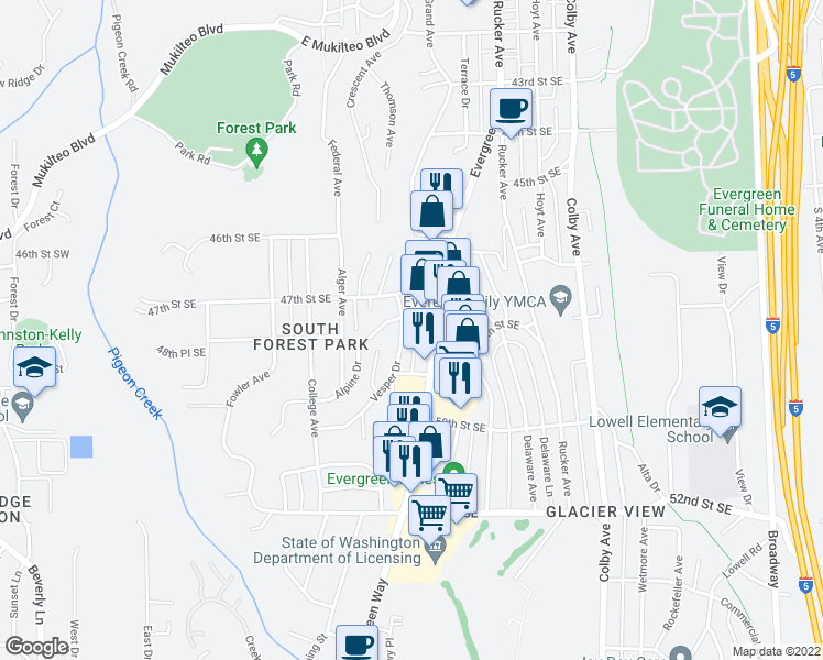 map of restaurants, bars, coffee shops, grocery stores, and more near 4807 Vesper Drive in Everett