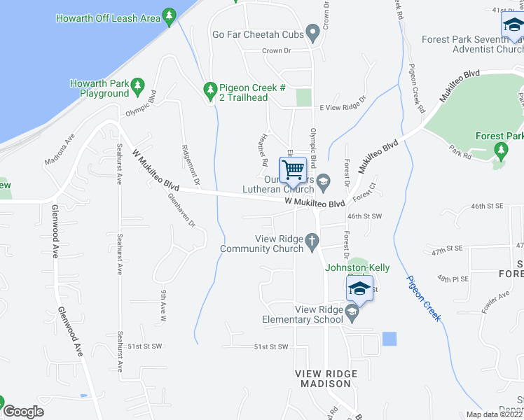 map of restaurants, bars, coffee shops, grocery stores, and more near 505 Wood Place in Everett