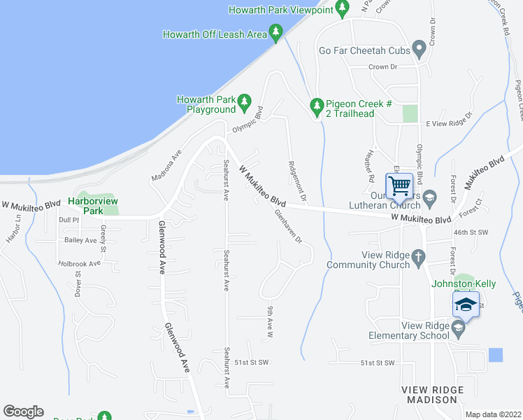 map of restaurants, bars, coffee shops, grocery stores, and more near 934 West Mukilteo Boulevard in Everett