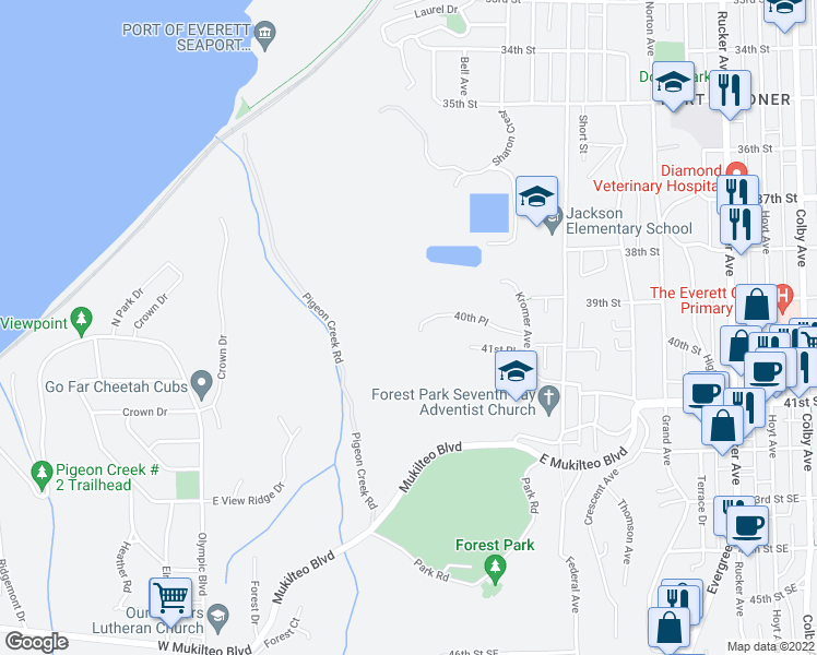 map of restaurants, bars, coffee shops, grocery stores, and more near 605 40th Place in Everett