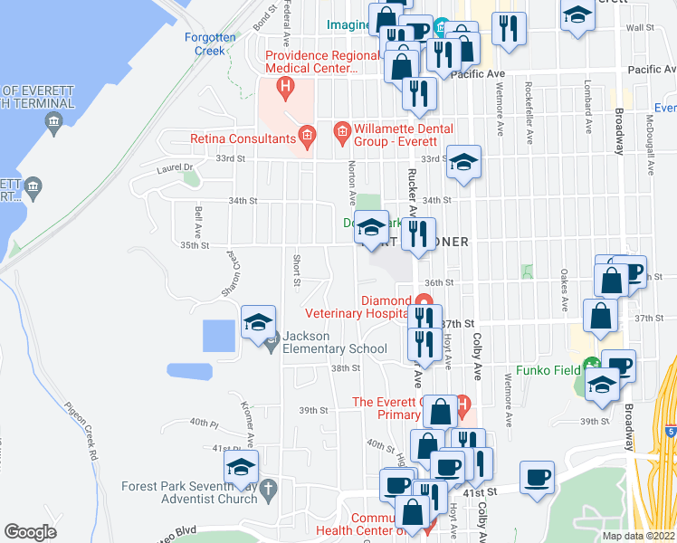 map of restaurants, bars, coffee shops, grocery stores, and more near 3521 Friday Avenue in Everett