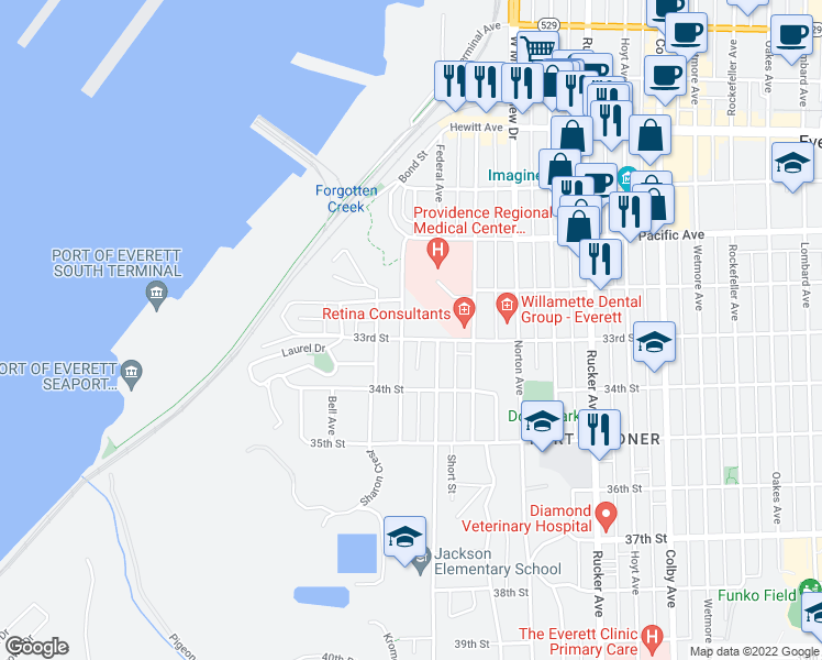 map of restaurants, bars, coffee shops, grocery stores, and more near 3229 Kromer Avenue in Everett
