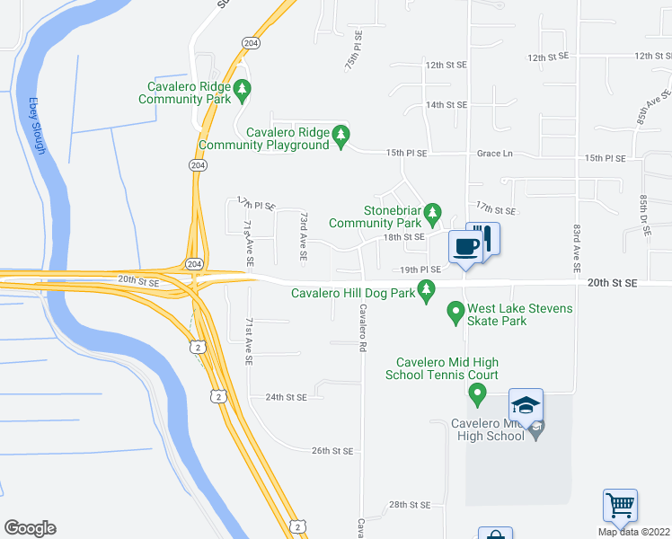 map of restaurants, bars, coffee shops, grocery stores, and more near 7401 19th Place Southeast in Lake Stevens