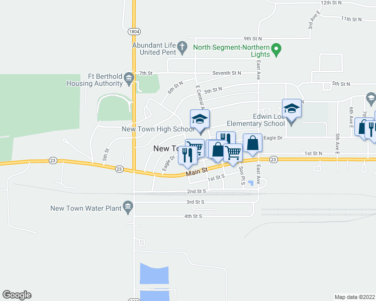 map of restaurants, bars, coffee shops, grocery stores, and more near 224-298 Eagle Drive in New Town