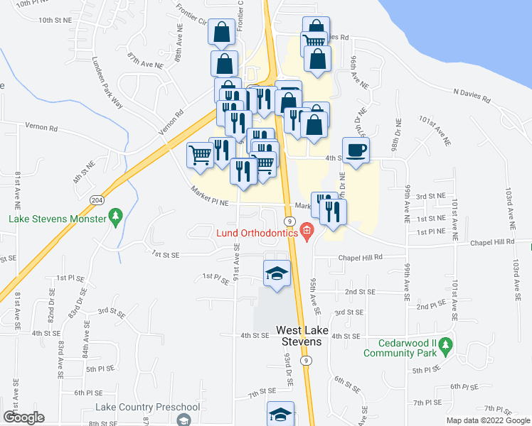 map of restaurants, bars, coffee shops, grocery stores, and more near 9210 Market Place in Lake Stevens