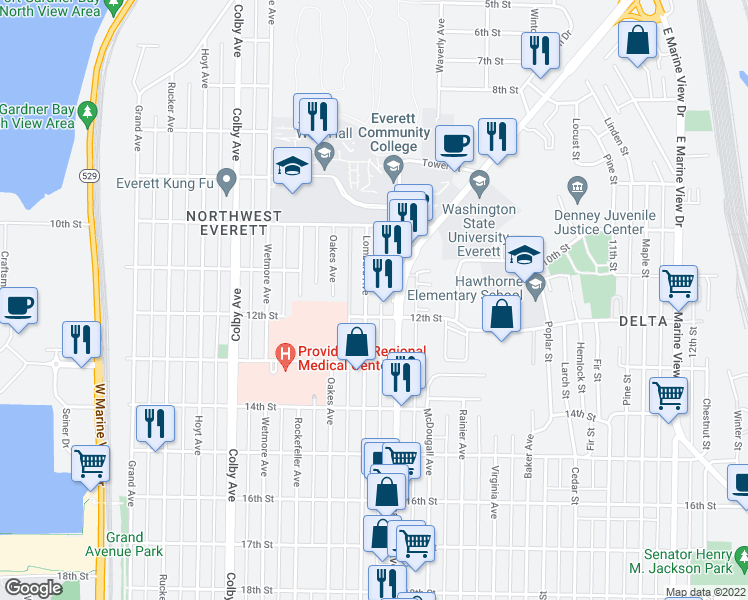 map of restaurants, bars, coffee shops, grocery stores, and more near 1121 Lombard Avenue in Everett