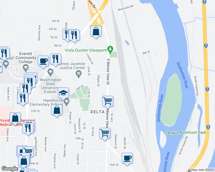 map of restaurants, bars, coffee shops, grocery stores, and more near 919 East Marine View Drive in Everett