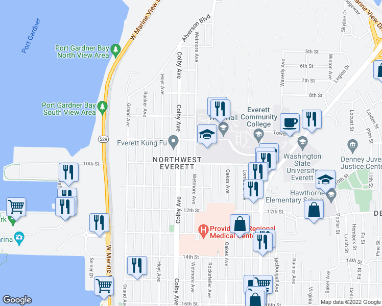 map of restaurants, bars, coffee shops, grocery stores, and more near 920 Wetmore Avenue in Everett