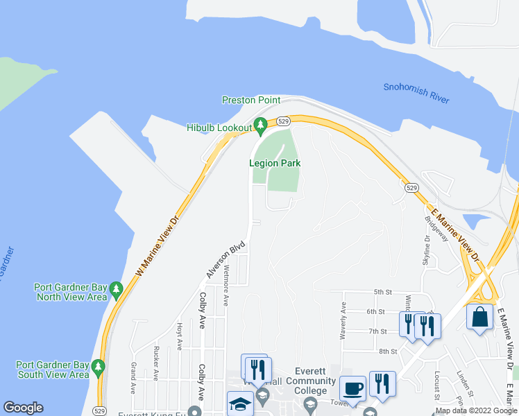 map of restaurants, bars, coffee shops, grocery stores, and more near 225 Alverson Boulevard in Everett