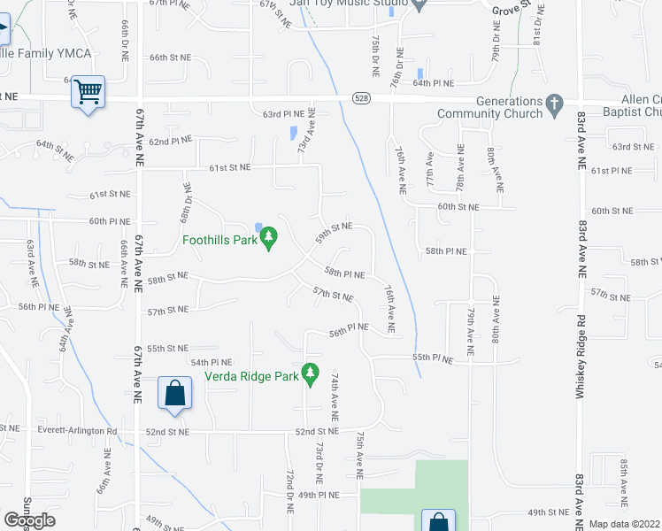 map of restaurants, bars, coffee shops, grocery stores, and more near 74th Drive Northeast in Marysville