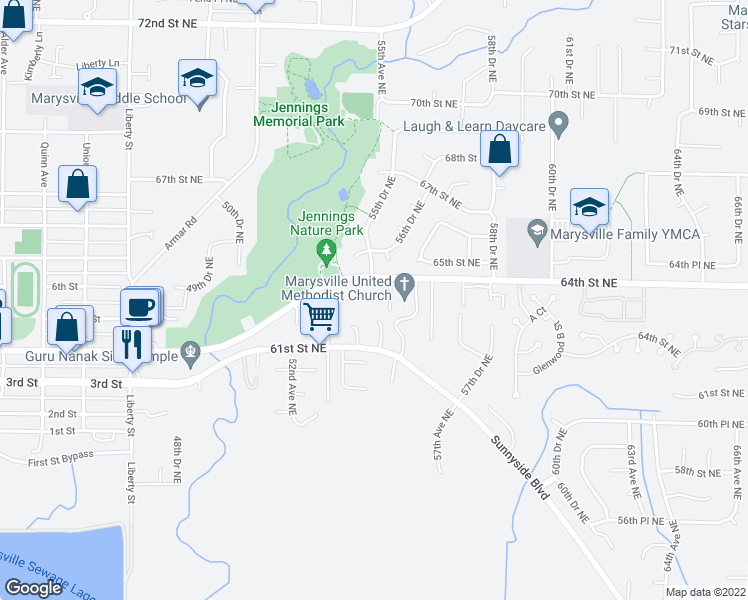 map of restaurants, bars, coffee shops, grocery stores, and more near 5430 64th Street Northeast in Marysville