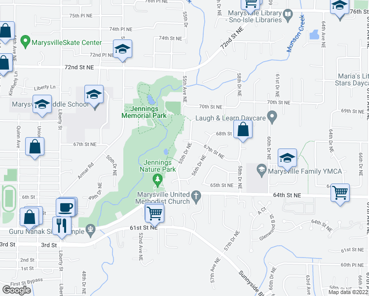 map of restaurants, bars, coffee shops, grocery stores, and more near 6620 55th Drive Northeast in Marysville