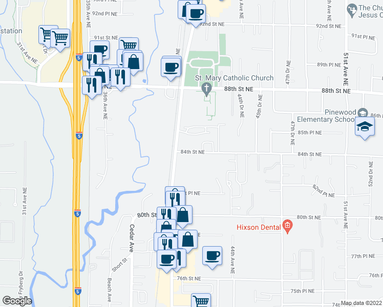 map of restaurants, bars, coffee shops, grocery stores, and more near 4200 84th Street Northeast in Marysville