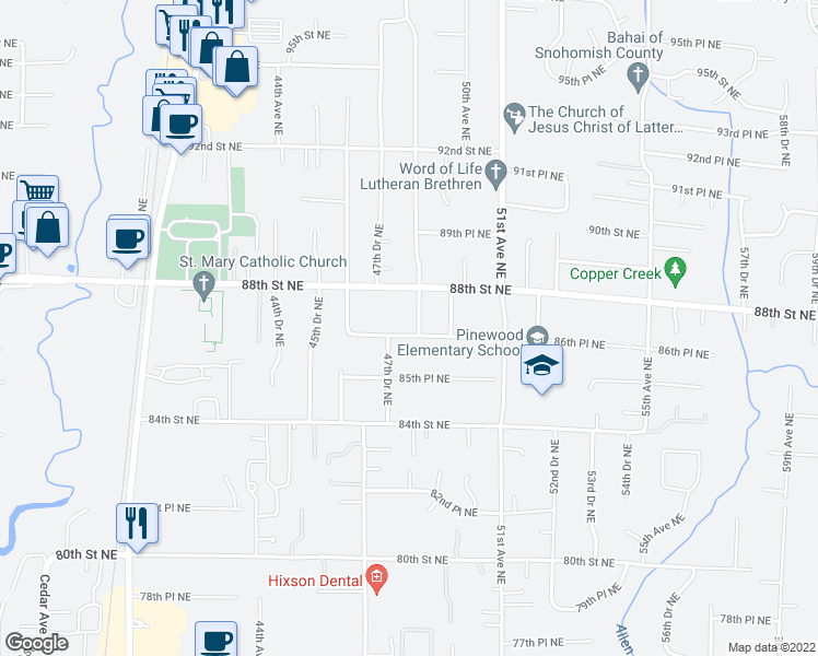 map of restaurants, bars, coffee shops, grocery stores, and more near 8624 48th Dr NE in Marysville