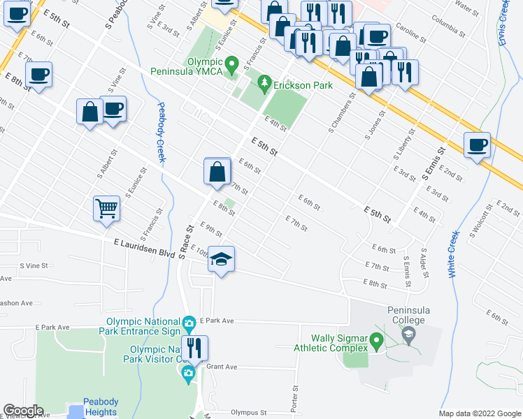 map of restaurants, bars, coffee shops, grocery stores, and more near 1020 East 7th Street in Port Angeles
