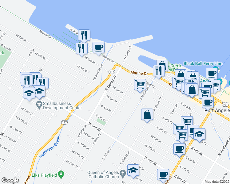 map of restaurants, bars, coffee shops, grocery stores, and more near 524 West 4th Street in Port Angeles