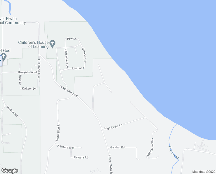 map of restaurants, bars, coffee shops, grocery stores, and more near 69 South Point Road in Port Angeles