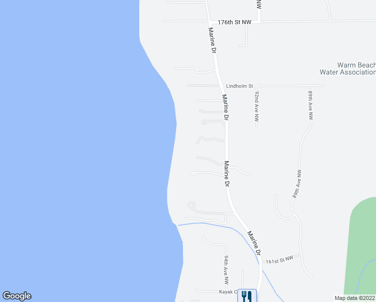 map of restaurants, bars, coffee shops, grocery stores, and more near 16706 Marine Drive in Stanwood