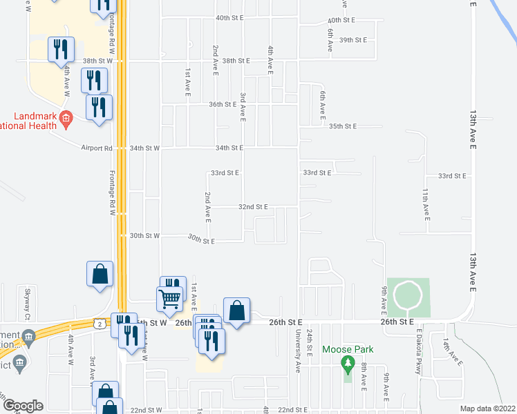 map of restaurants, bars, coffee shops, grocery stores, and more near 425 32nd Street East in Williston