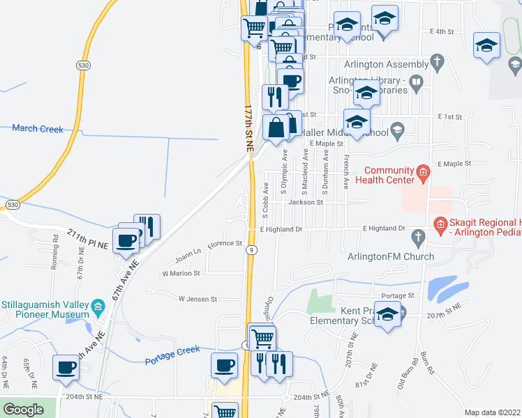 map of restaurants, bars, coffee shops, grocery stores, and more near 408 South Cobb Avenue in Arlington