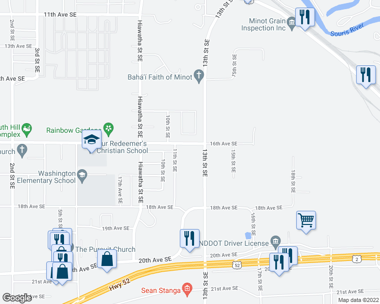 map of restaurants, bars, coffee shops, grocery stores, and more near 1635 11th Street Southeast in Minot
