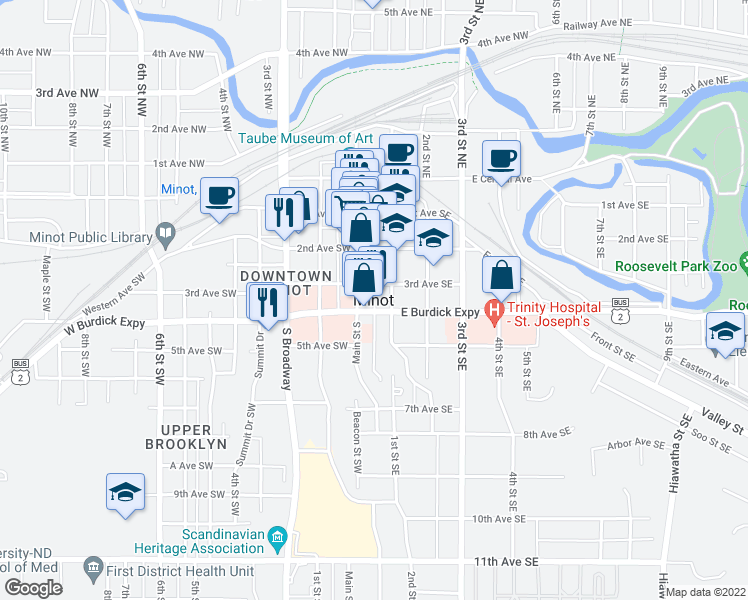 map of restaurants, bars, coffee shops, grocery stores, and more near None in Minot