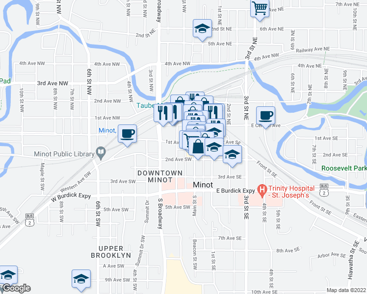 map of restaurants, bars, coffee shops, grocery stores, and more near 13-15 1st Avenue Southwest in Minot