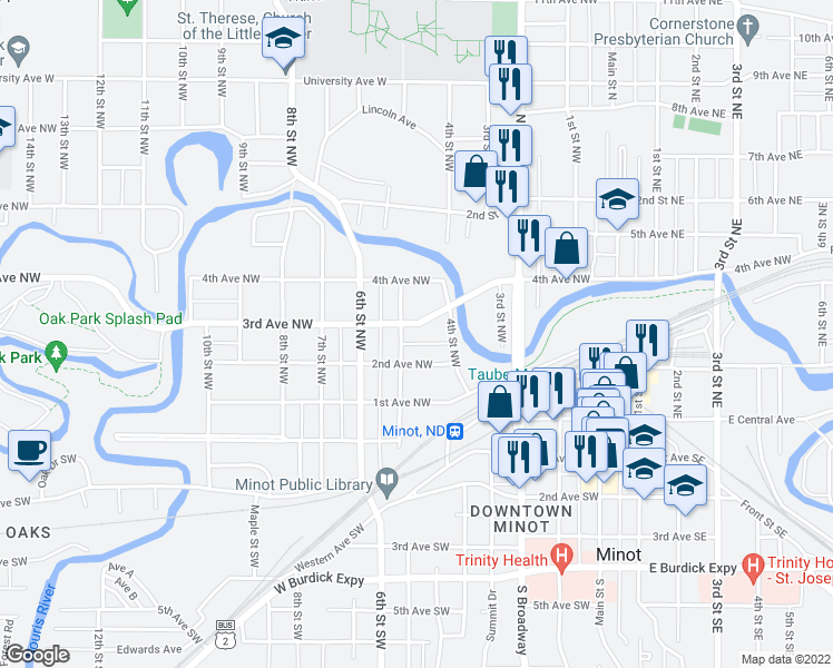 map of restaurants, bars, coffee shops, grocery stores, and more near 425 3rd Avenue Northwest in Minot