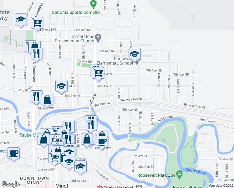 map of restaurants, bars, coffee shops, grocery stores, and more near 513 6th Street Northeast in Minot