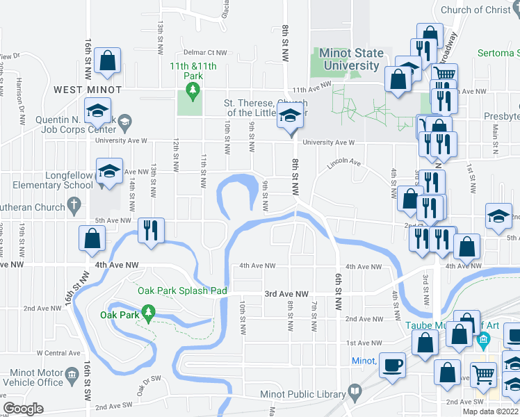 map of restaurants, bars, coffee shops, grocery stores, and more near 509 9th Street Northwest in Minot