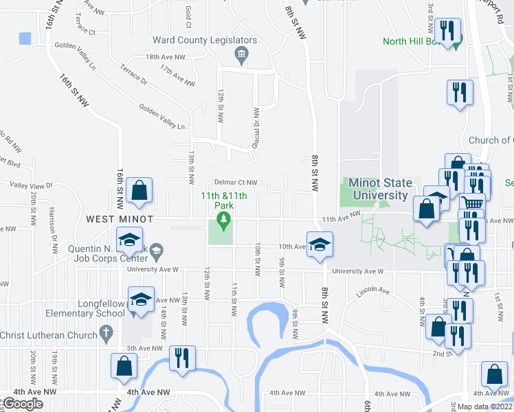 map of restaurants, bars, coffee shops, grocery stores, and more near 1113 10th Street Northwest in Minot