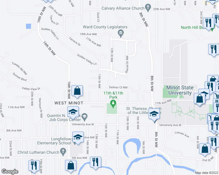 map of restaurants, bars, coffee shops, grocery stores, and more near 1119 Delmar Court Northwest in Minot