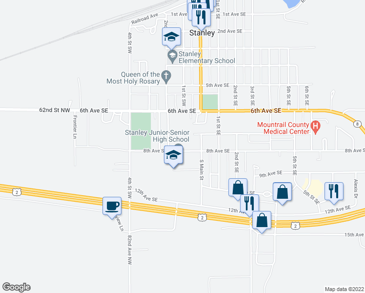 map of restaurants, bars, coffee shops, grocery stores, and more near 101 8th Avenue Southwest in Stanley