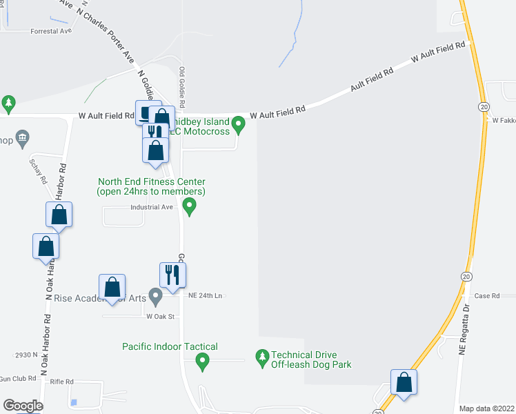 map of restaurants, bars, coffee shops, grocery stores, and more near 545 Ault Field Road in Oak Harbor
