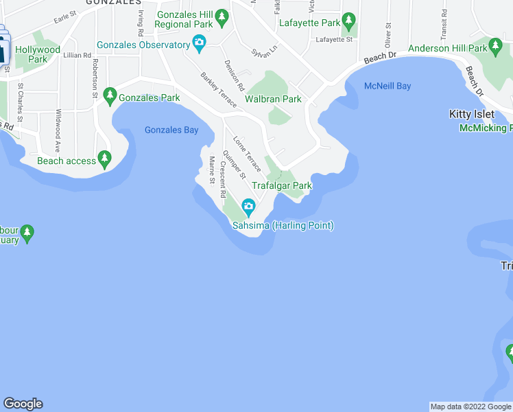 map of restaurants, bars, coffee shops, grocery stores, and more near 24 Maquinna Street in Victoria