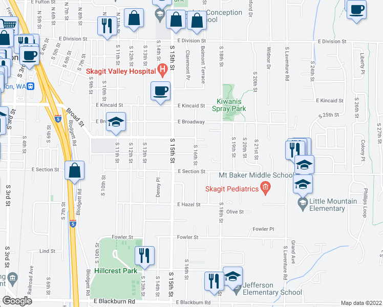 map of restaurants, bars, coffee shops, grocery stores, and more near 1535 Skagit Street in Mount Vernon
