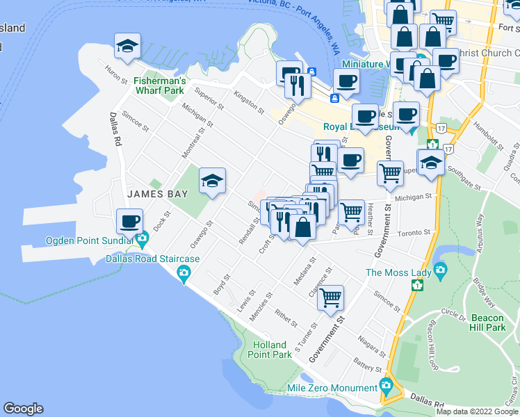 map of restaurants, bars, coffee shops, grocery stores, and more near 356 Simcoe Street in Victoria